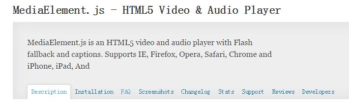 WordPress播放器Html5视频插件:MediaElement.js – HTML5 Video & Audio Player